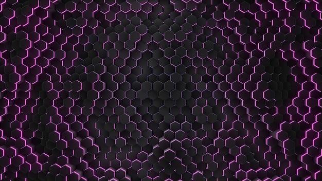 Ing abstrakcjonistyczny sześciokąt z neonową geometrią