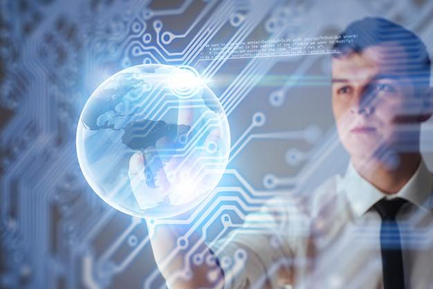 Innowacyjne technologie w nauce i medycynie. technologia łączenia. trzymając świecącą planetę ziemię