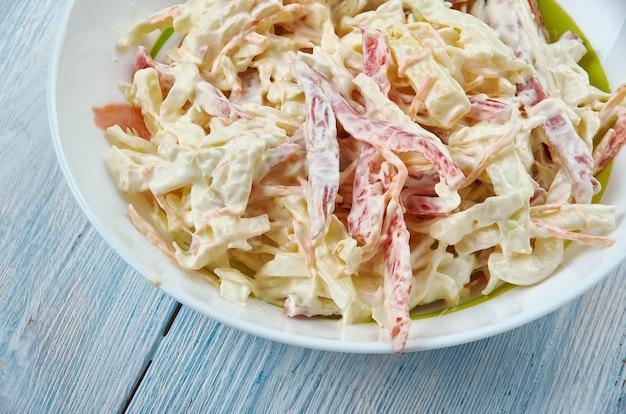 Insalata capricciosa - klasyczna włoska sałatka, chrupiące liście sałaty z pokrojoną w kostkę papryką, selerem naciowym, szynką i serem a wszystko polane kremowym sosem majonezowo-jogurtowym