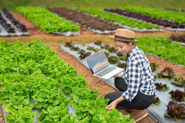 Inspekcja jakości ogrodu warzywnego przez rolników