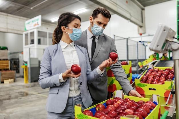 Inspekcja owoców i jabłek przez kierownictwo firmy. podczas robienia jabłek mężczyzna i kobieta noszą eleganckie garnitury i ochronne maski na twarz. kontrola jakości owoców w fabryce