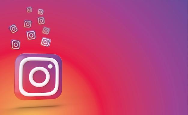 Instagram backgraund 3d render, logo mediów społecznościowych