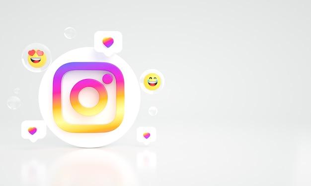 Instagram ikona logo kopia przestrzeń 3d zdjęcie premium