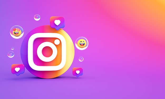 Instagram ikona logo kopia przestrzeń zdjęcie premium