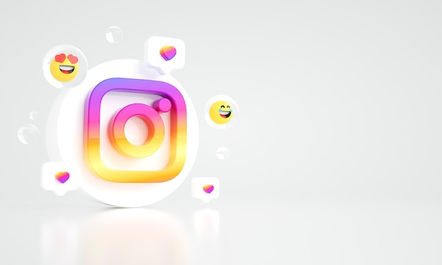 Instagram logo ikona kopia przestrzeń 3d zdjęcie premium