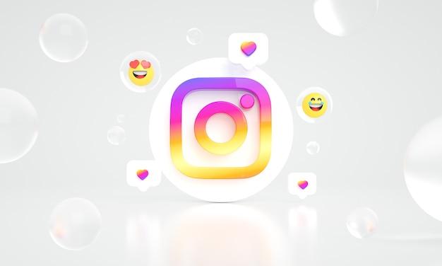 Instagram logo ikona przestrzeń 3d zdjęcie premium