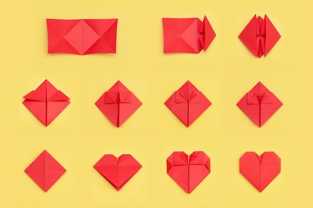 Instrukcja krok po kroku, jak zrobić serce z papieru. koncepcja diy.
