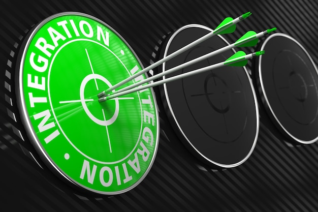 Integracja - trzy strzały trafiają w środek zielonego celu na czarnym tle.
