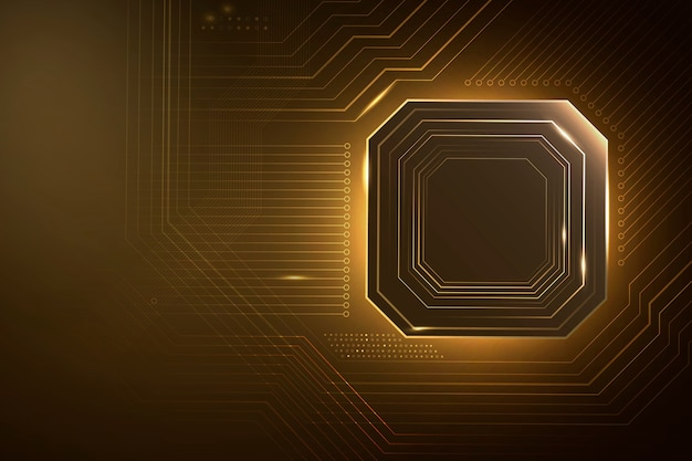Inteligentna technologia mikroczipowa w tle gradientowego złota