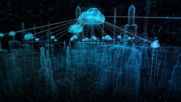 Inteligentne miasto cyberbezpieczeństwa cyfrowe dane o futurystycznej i technologii przetwarzania w chmurze