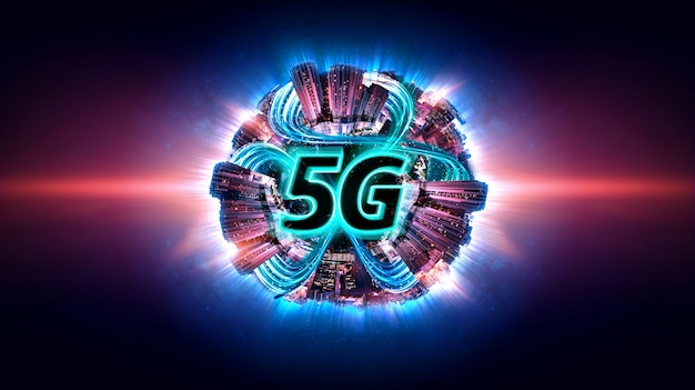 Inteligentne miasto z 5g siecią internetową. kanał transmisji danych.