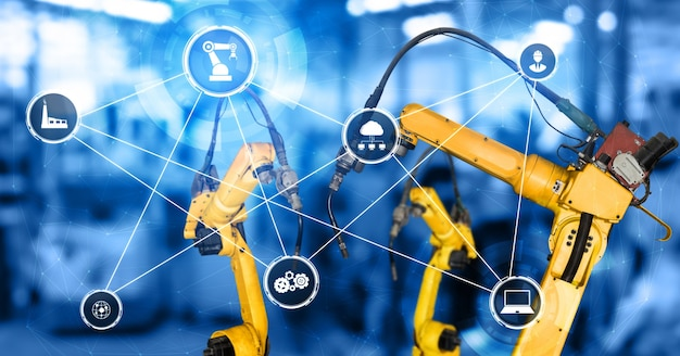 Inteligentne ramiona robotów przemysłowych do cyfrowej technologii produkcji fabrycznej