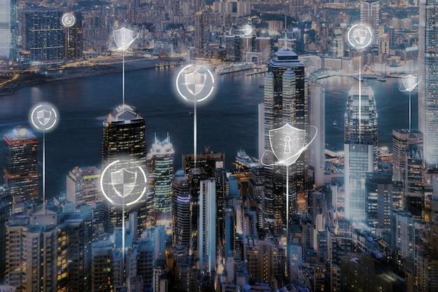 Inteligentne tło bezpieczeństwa miasta cyfrowa transformacja cyfrowy remiks