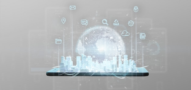 Inteligentny interfejs użytkownika miasta z ikoną, statystykami i renderowaniem danych 3d