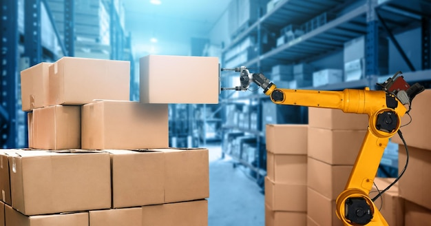 Inteligentny system ramienia robota dla innowacyjnej cyfrowej technologii magazynowej i fabrycznej