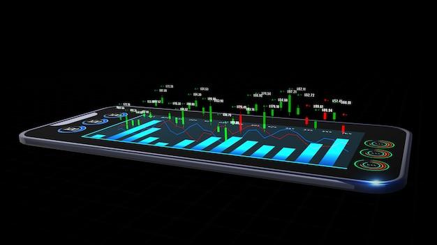 Inteligentny telefon z cyfrową analizą giełdy lub wykresem handlowym i wykresem świecowym odpowiednim dla inwestycji finansowych.