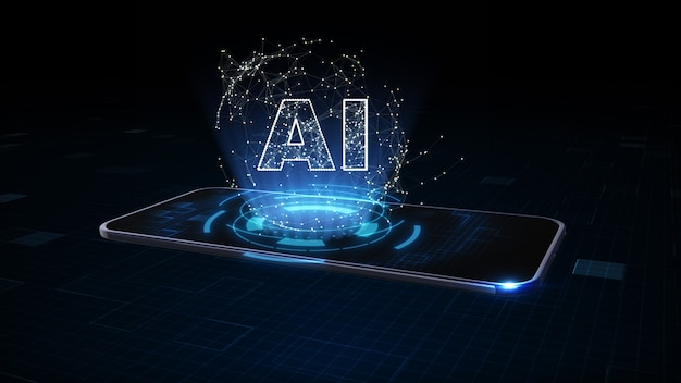 Inteligentny telefon z symbolem ai, sztuczna inteligencja (ai), koncepcja eksploracji danych, technologia cyfrowego połączenia danych