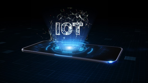 Inteligentny telefon z symbolem iot, internet rzeczy, technologia cyfrowa dla internetu