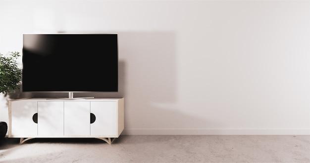 Inteligentny telewizor led na szafce, minimalna biała ściana pokoju. renderowanie 3d