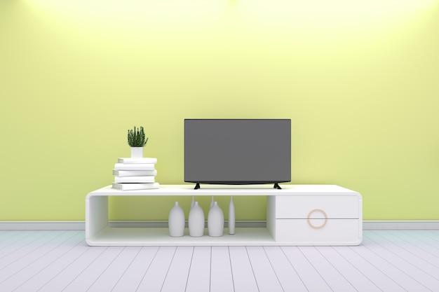 Inteligentny telewizor - makiety - koncepcja salon biały styl - żółty nowoczesny design