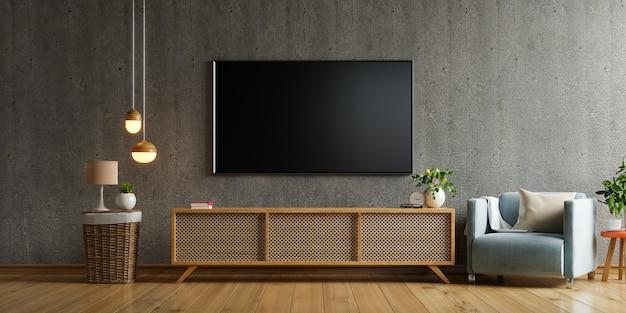 Inteligentny telewizor na szafce w salonie na betonowej ścianie, renderowanie 3d