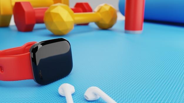 Inteligentny zegarek i sprzęt do ćwiczeń na siłowni.