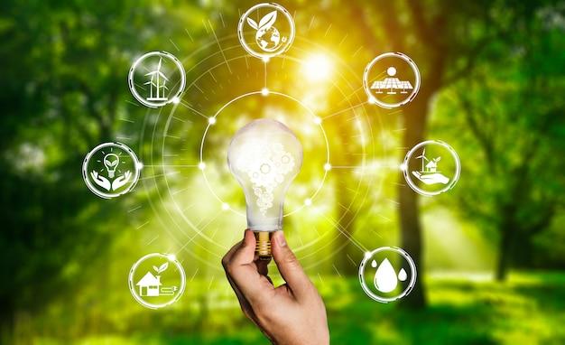 Interfejs graficzny żarówki innowacji energii.