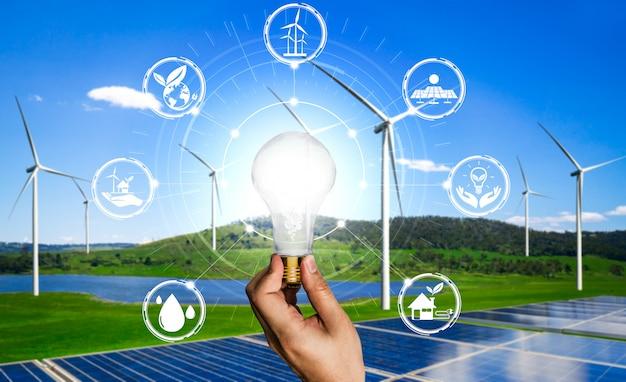 Interfejs graficzny żarówki innowacji energii