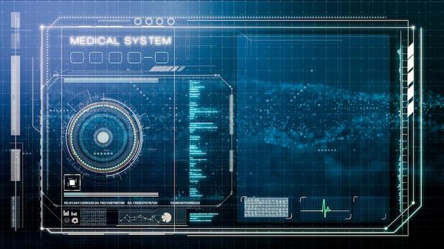 Interfejs użytkownika systemu medycznego, szablon wyświetlacza head up dla twojego elementu i kompletnego projektu, ilustracyjny szablon interfejsu użytkownika hud