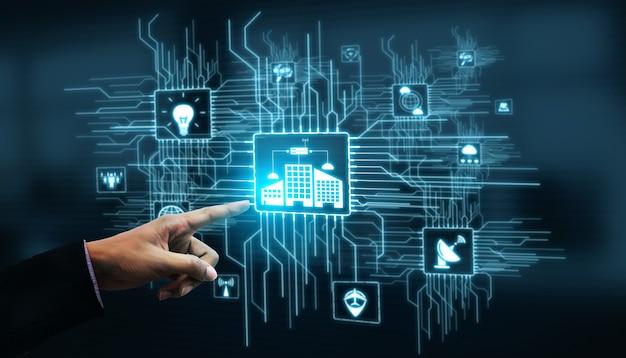 Internet rzeczy i koncepcja technologii komunikacyjnej. inteligentne informacje i cyfrowy styl życia.