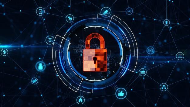 Internetowa sieć technologii i koncepcja bezpieczeństwa cybernetycznego.