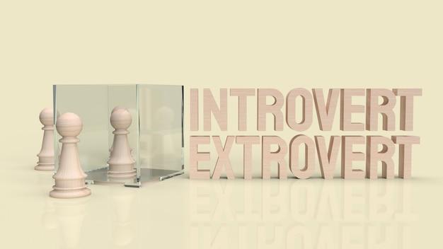 Introwertyk i ekstrawertyczny tekst do renderowania 3d w tle.