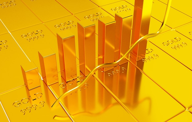 Inwestowanie w akcje złota, koncepcja handlu złotem, renderowanie ilustracji 3d