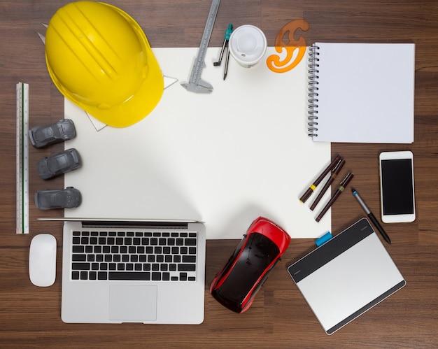 Inżynieria samochodowa projektanta projektanta biurowego tła