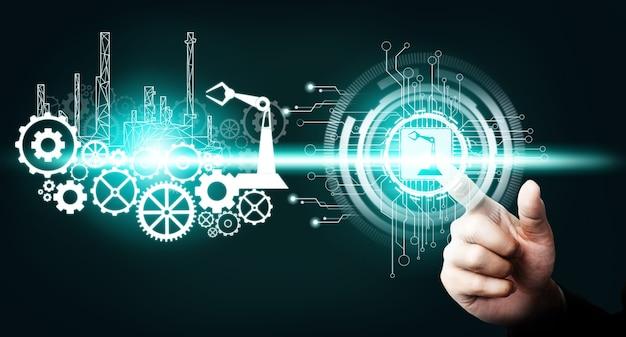 Inżynieria z interfejsem graficznym pokazującym projektowanie automatyki, działanie robota, wykorzystanie maszynowego uczenia głębokiego do przyszłej produkcji.