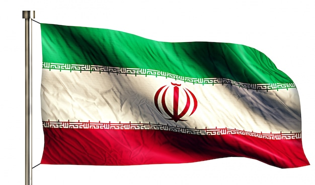 Iran national flag pojedyncze 3d białe tło