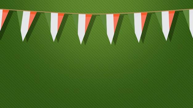 Irlandzkie flagi na zielonym tle, święto świętego patryka. luksusowy i elegancki styl ilustracji 3d na wakacje