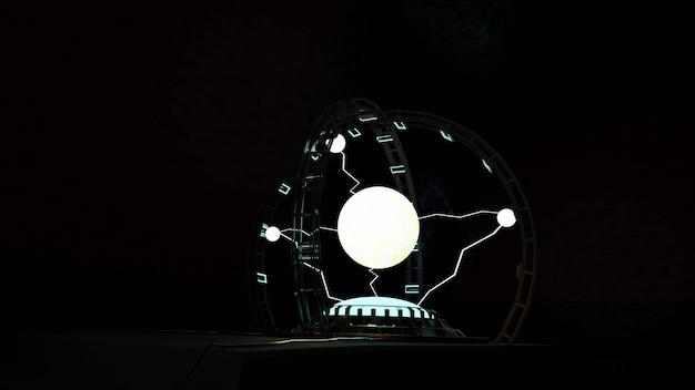 Iskra elektryczna kula plazmowa w kolorze białym na ciemnym tle potężny błysk energii elektrycznej magicznej energii 3d ilustracji
