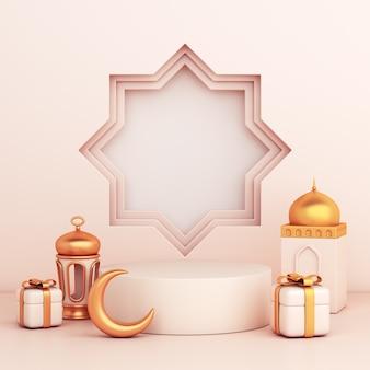 Islamska dekoracja na podium z arabską latarnią w kształcie półksiężyca w pudełku prezentowym