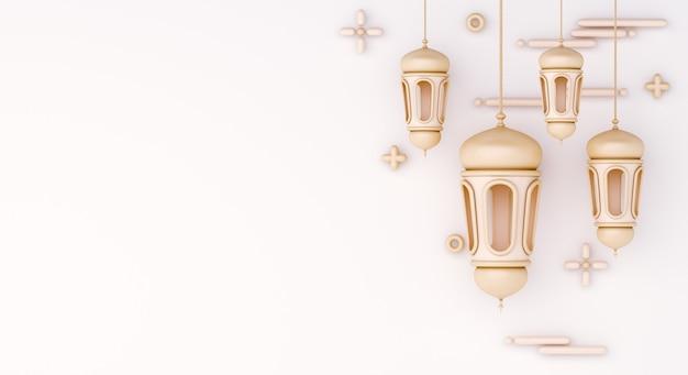 Islamska dekoracja tła z arabską latarnią kopia przestrzeń