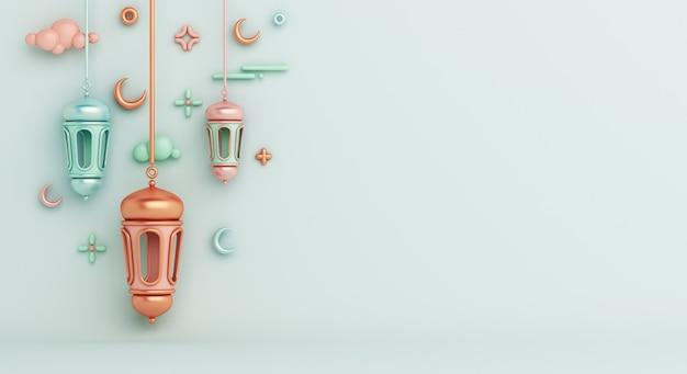 Islamska dekoracja tła z arabską latarnią półksiężyca kopia przestrzeń
