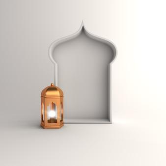 Islamska dekoracja tła z arabską latarnią
