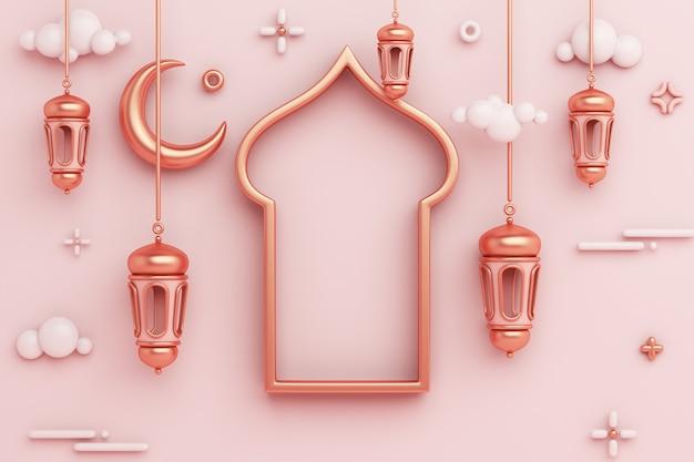 Islamska dekoracja tła z arabską ramą okna latarnia półksiężyc kopia przestrzeń