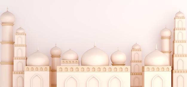 Islamska dekoracja tła z meczetem