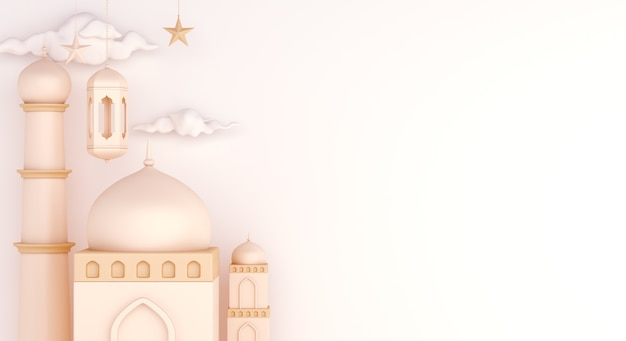 Islamska dekoracja tła z miejsca kopiowania meczetu arabska latarnia