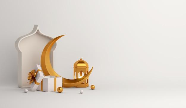 Islamska dekoracja tła z pudełkiem prezentowym w kształcie półksiężyca arabskiej latarni