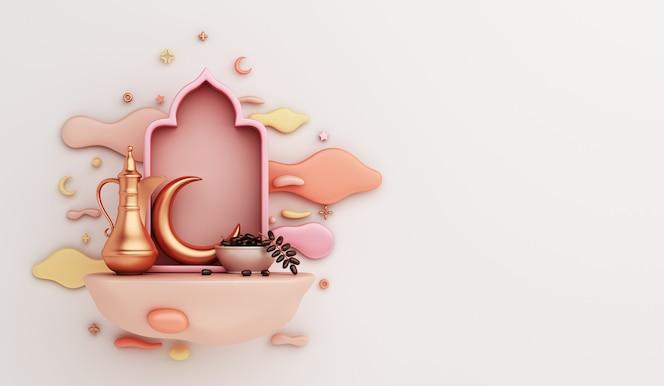 Islamska dekoracja z arabską latarnią czajnika z datami i ilustracją iftar chmury półksiężyca owoców