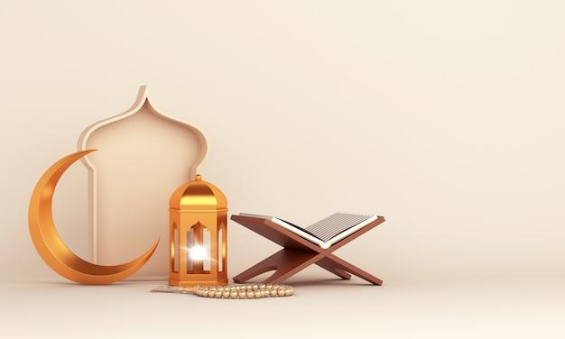 Islamska dekoracja z arabską latarnią w kształcie półksiężyca koran