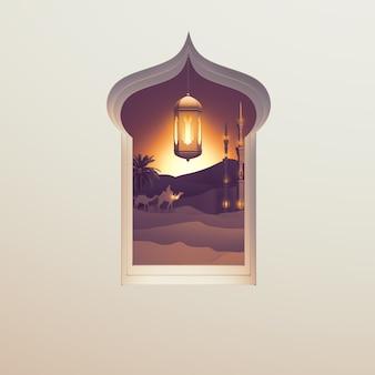 Islamska karta z pozdrowieniami tło z okna arabskiej latarni