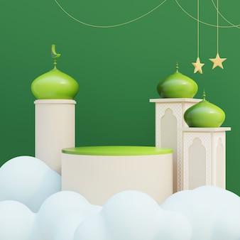 Islamska wystawa na podium z dekoracjami meczetu